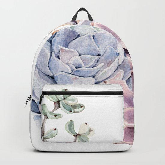 Pristine Succulents Blue and Pink Backpack