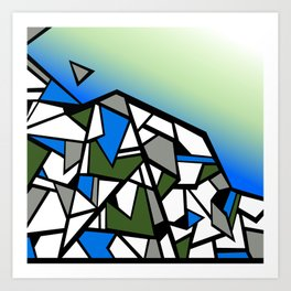 Glacier abstract blue mountain vector landscape Art Print