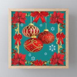 TEAL COLOR RED CHRISTMAS  ORNAMENTS &  POINSETTIAS FLOWER Framed Mini Art Print
