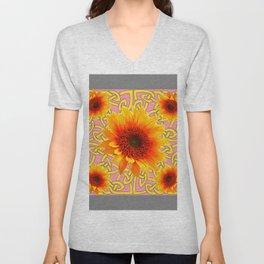 Decorator Sunflower Grey-Coral Color Floral Celtic art Unisex V-Neck