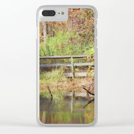 Bridge Over Oak Creek Pond Clear iPhone Case