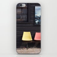 posters iPhone & iPod Skins featuring Seats outside Heritage Posters by RMK Creative