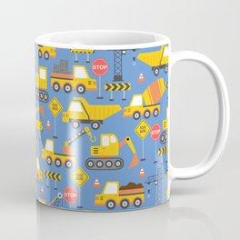 Construction Vehicles Blue Pattern Coffee Mug