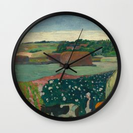 Haystacks in Brittany Oil Painting by Paul Gauguin Wall Clock