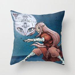 Mooncat Warrior Throw Pillow