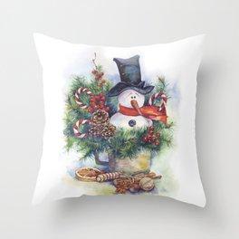 Watercolor Christmas snowman winter New Year decor Throw Pillow