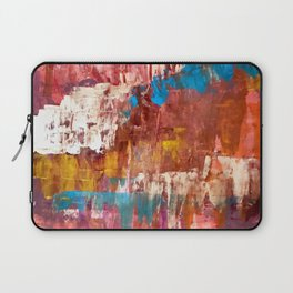 Desert Sun [5]: A bright, bold, colorful abstract piece in warm gold, red, yellow, purple and blue Laptop Sleeve