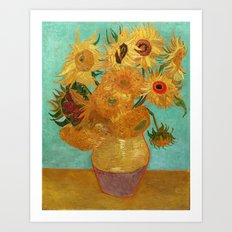 Vincent Van Gogh Twelve Sunflowers In A Vase Art Print
