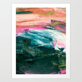 Meditate [4]: a vibrant, colorful abstract piece in bright green, teal, pink, orange, and white Art Print
