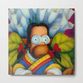 Mexican Flower Seller Diego Homero satirical - satire floral portrait painting by Armando Maynez Metal Print