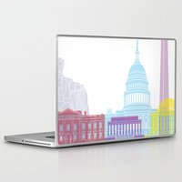 washington dc Laptop & iPad Skins featuring Washington DC skyline pop by Paulrommer