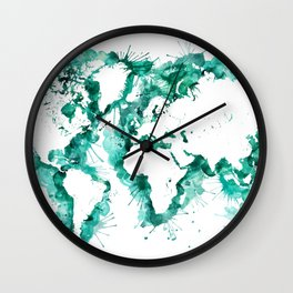 Watercolor splatters world map in teal Wall Clock