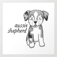 Dog Breeds: Australian Shepherd Art Print