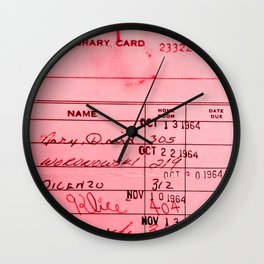 Library Card 23322 Pink Wall Clock