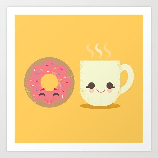 Coffee and Donut Buds Art Print