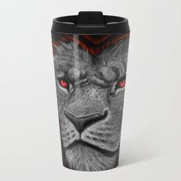 Mighty Black Mained Lion Metal Travel Mug