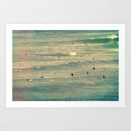 Maui Surfers Retro Art Print