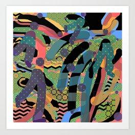 HODGE PODGE FIGURES IN LIMBO Design Illustration Pattern Print Art Print