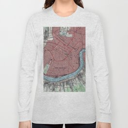 Vintage Map of New Orleans Louisiana (1954) Long Sleeve T-shirt