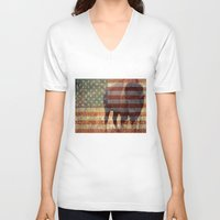 patriotic V-neck T-shirts featuring Patriotic Bison  by IndigoGallery