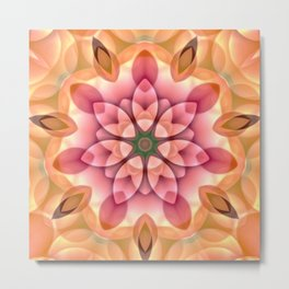 Peach Pink Flower Kaleidoscope Metal Print