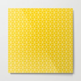 Simple outline yellow-white cubes pattern Metal Print