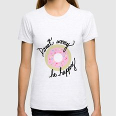 Donut Worry Be Happy Womens Fitted Tee Ash Grey X-LARGE