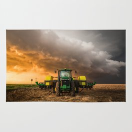 Farm Life - Tractor and Storm in Kansas Rug