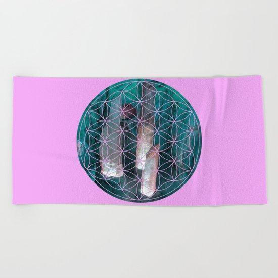 Crystal flower of life | Secret Geometry Beach Towel