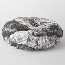 Watercolor Bird, Great Horned Owl 01, Estes Park, Colorado, Stoic Floor Pillow