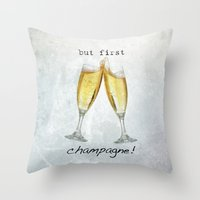 champagne Throw Pillows featuring Champagne! by mJdesign