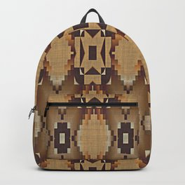 Khaki Tan Orange Dark Brown Native American Indian Mosaic Pattern Backpack