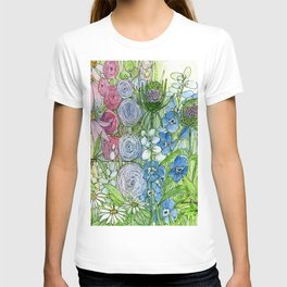 Rainbow Garden Watercolor Ink Painting T-shirt