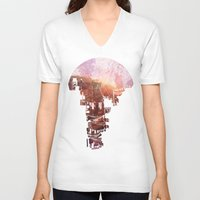 david V-neck T-shirts featuring Secret Streets by David Fleck