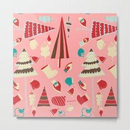 Vintage Christmas Pink Metal Print