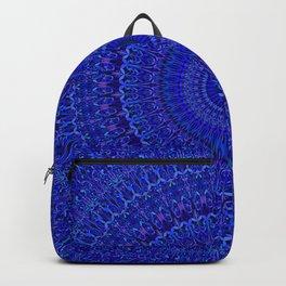 Blue Psychedelic Floral Mandala Backpack