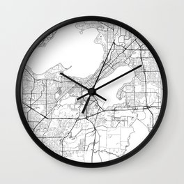 Madison Map White Wall Clock