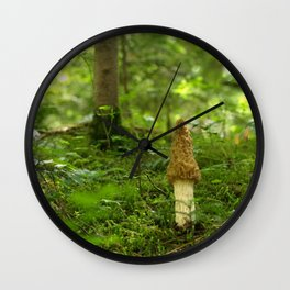 Giant Morel In The Forest Wall Clock