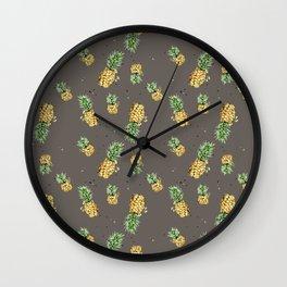 Kaki pineapple pattern Wall Clock