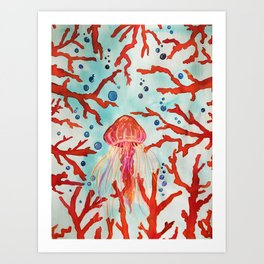 Pink Neon Jellyfish in the Big Blue Sea Swimming In Red Coral Watercolor by Imaginarium Arts Art Print