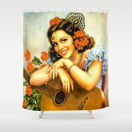 Mexican Calendar Girl with Guitar by Jesus Helguera Shower Curtain