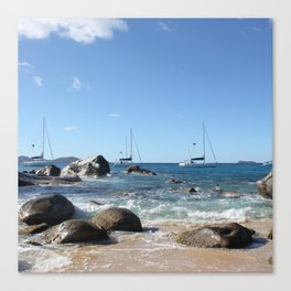 Sailing Boats at the Baths, BVI Canvas Print