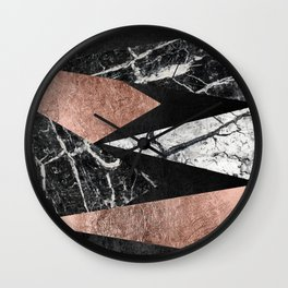 Elegant Modern Marble, Rose Gold, & Black Foil Triangles Wall Clock