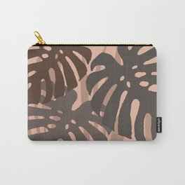 Three big Monstera leaves brown background Carry-All Pouch