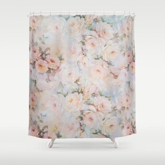 Vintage Romantic Blush Pink Ivory Elegant Rose Floral Shower Curtain