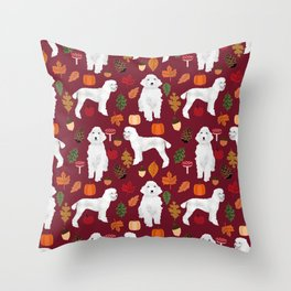 Poodle fall autumn leaves acorns pinecones cute standard white poodles Throw Pillow