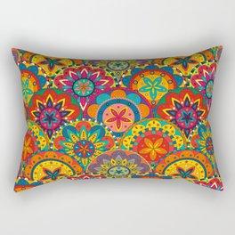 Funky Retro Pattern Mandalas Rectangular Pillow