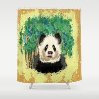 splatter Shower Curtains featuring Splatter Panda by grapeloverarts