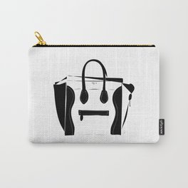 Black and White Luggage Handbag Tote Pattern Carry-All Pouch