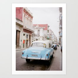Classic Blue Car on the Streets of Cuba Art Print